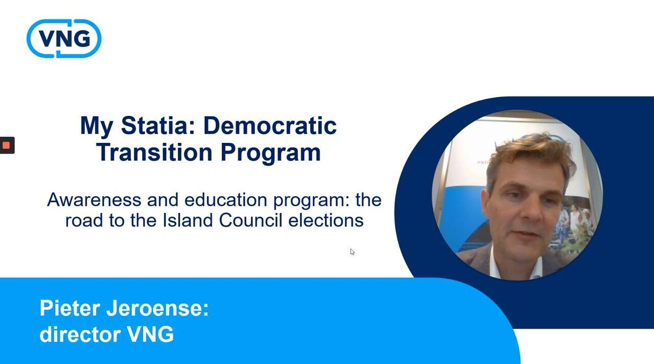 Image for video: Meeting Election Process St. Eustatius: Introduction by Director VNG Pieter Jeroense